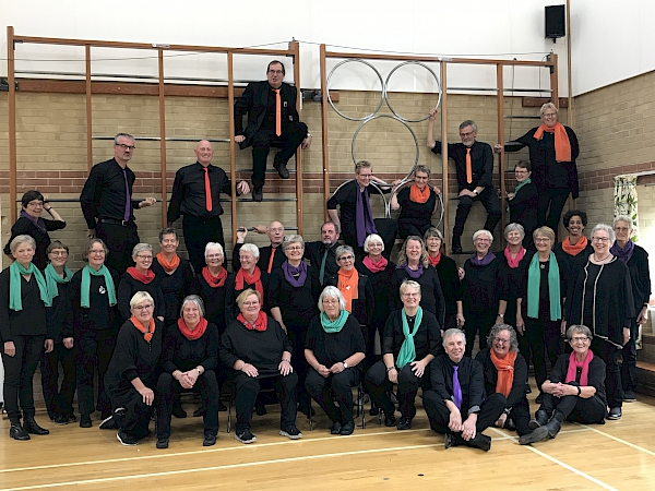 Sing 'n' Swing in Ely St Johns Primary School, after performing to all the children, time to pose for a photo!