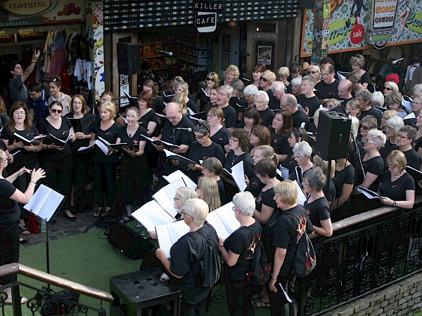 Sing! Choirs from Ely, Cambridge and Newmarket visit Camden Markets in London to perform on Saturday 8 July 2017 as part of the Voices Now Festival
